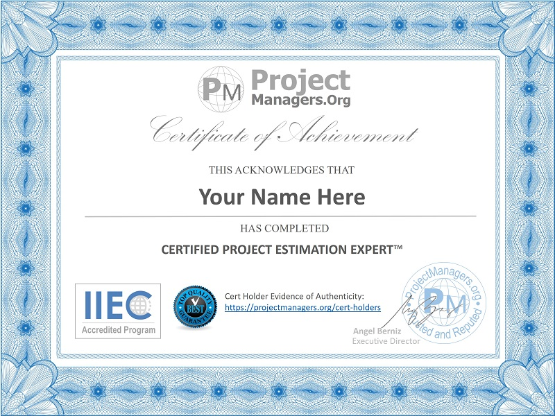 Certified Project Estimation Expert
