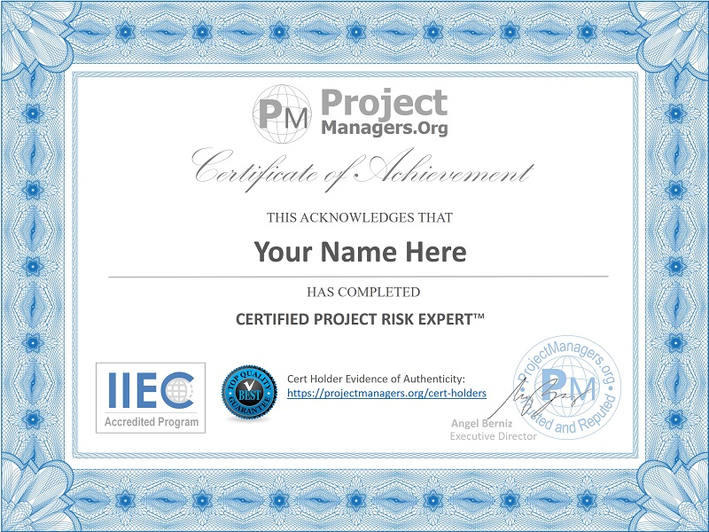 Certified Project Risk Expert