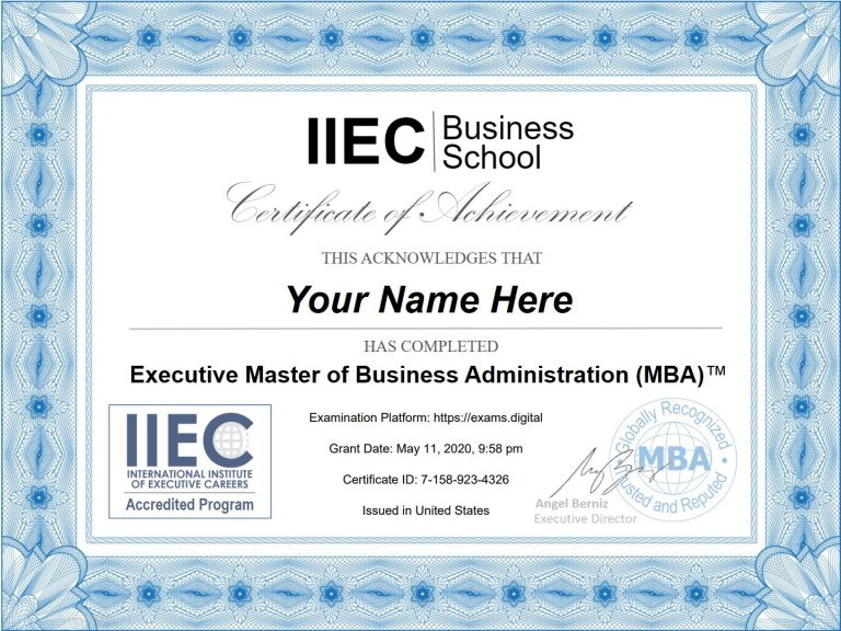 Online MBA certificate