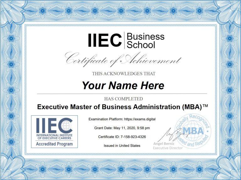 Online MBA certificate